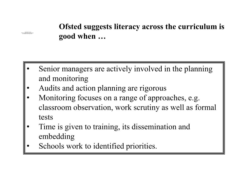 Ofsted suggests literacy across the curriculum is good when …