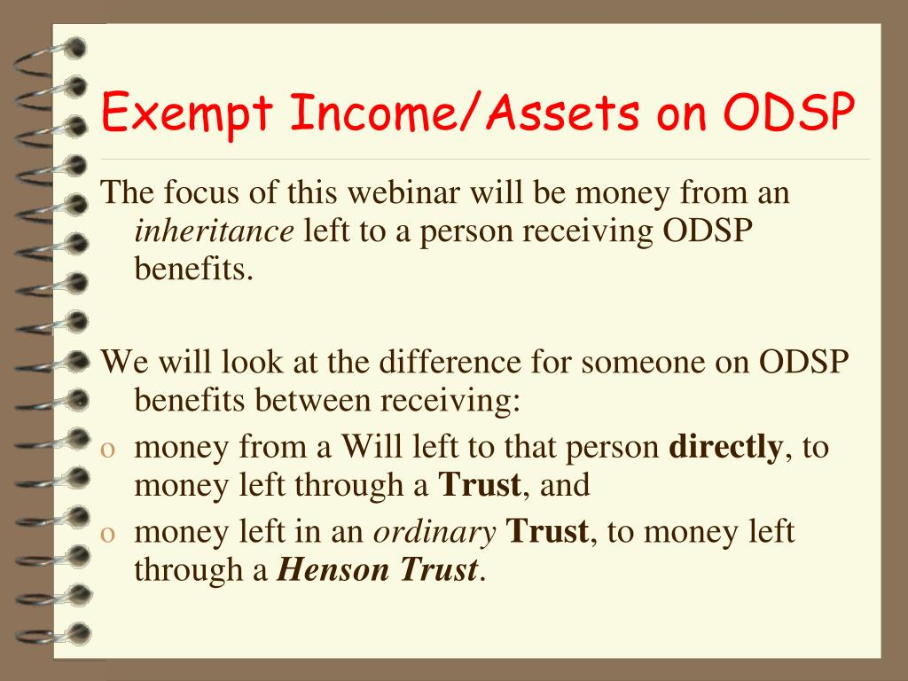 Exempt Income/Assets on ODSP