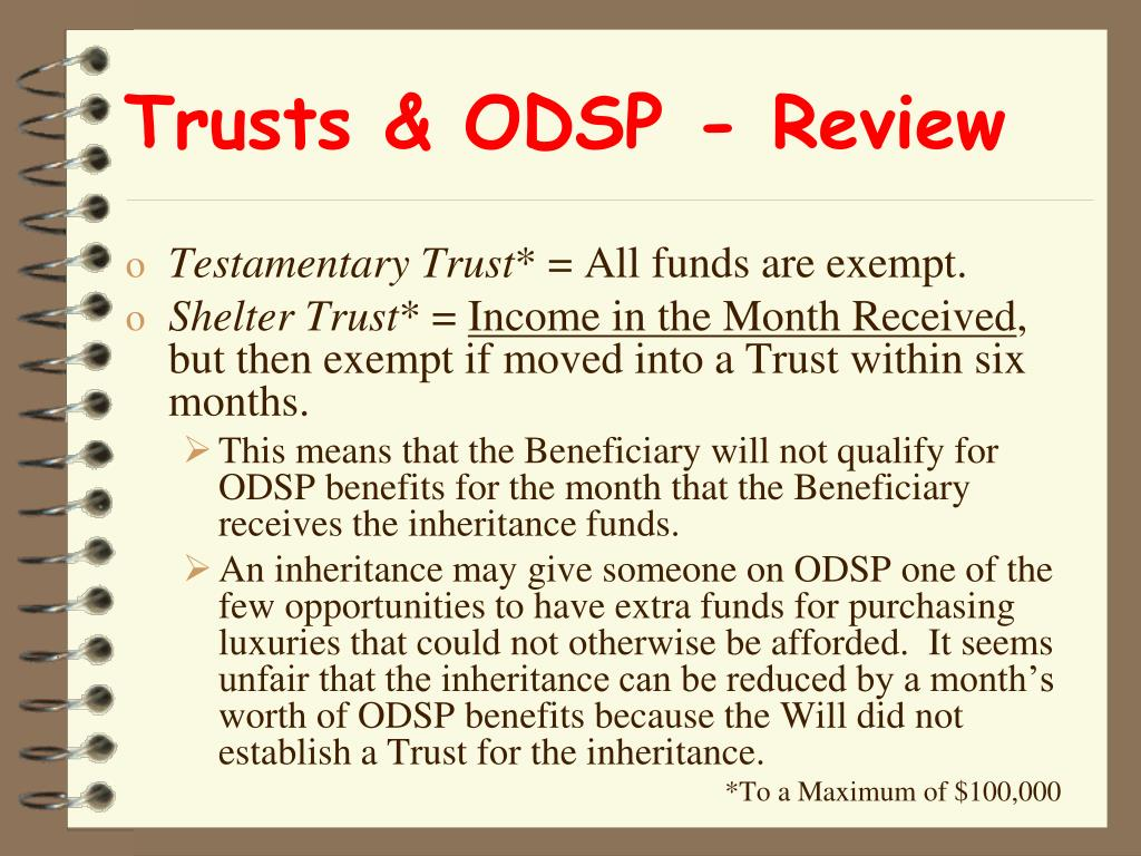 Trusts & ODSP - Review