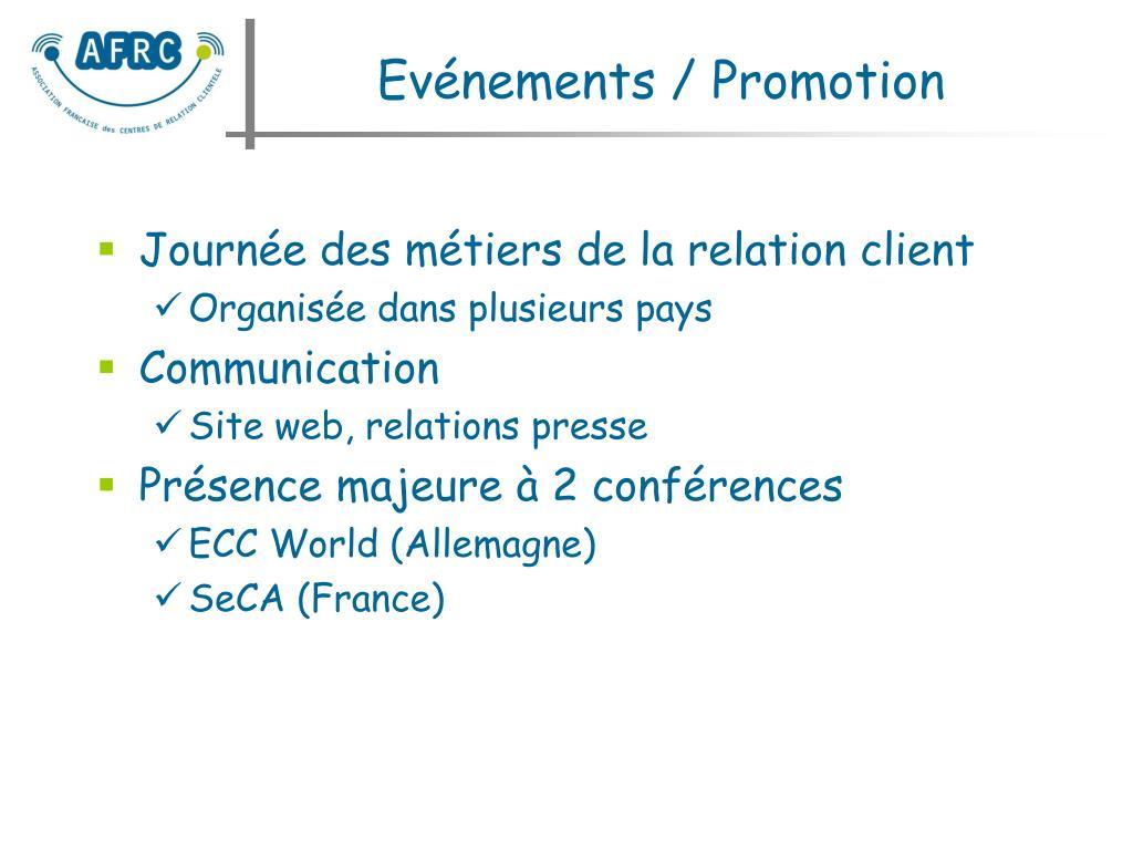 Evénements / Promotion