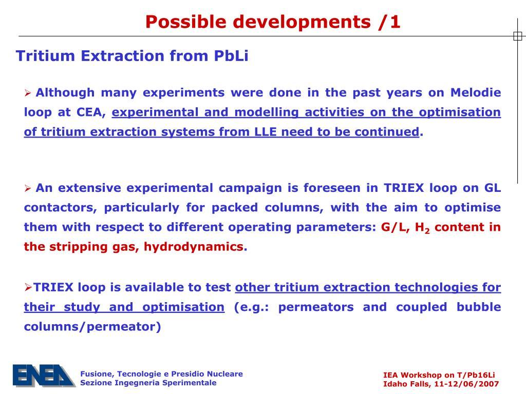 Possible developments /1