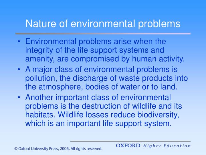 Nature of environmental problems