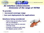 air interface enhancements extension of the range of tetra