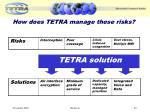 how does tetra manage these risks