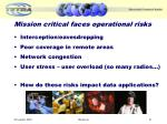 mission critical faces operational risks