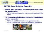 tetra data solution benefits