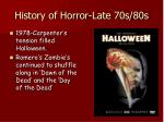 history of horror late 70s 80s