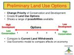 preliminary land use options