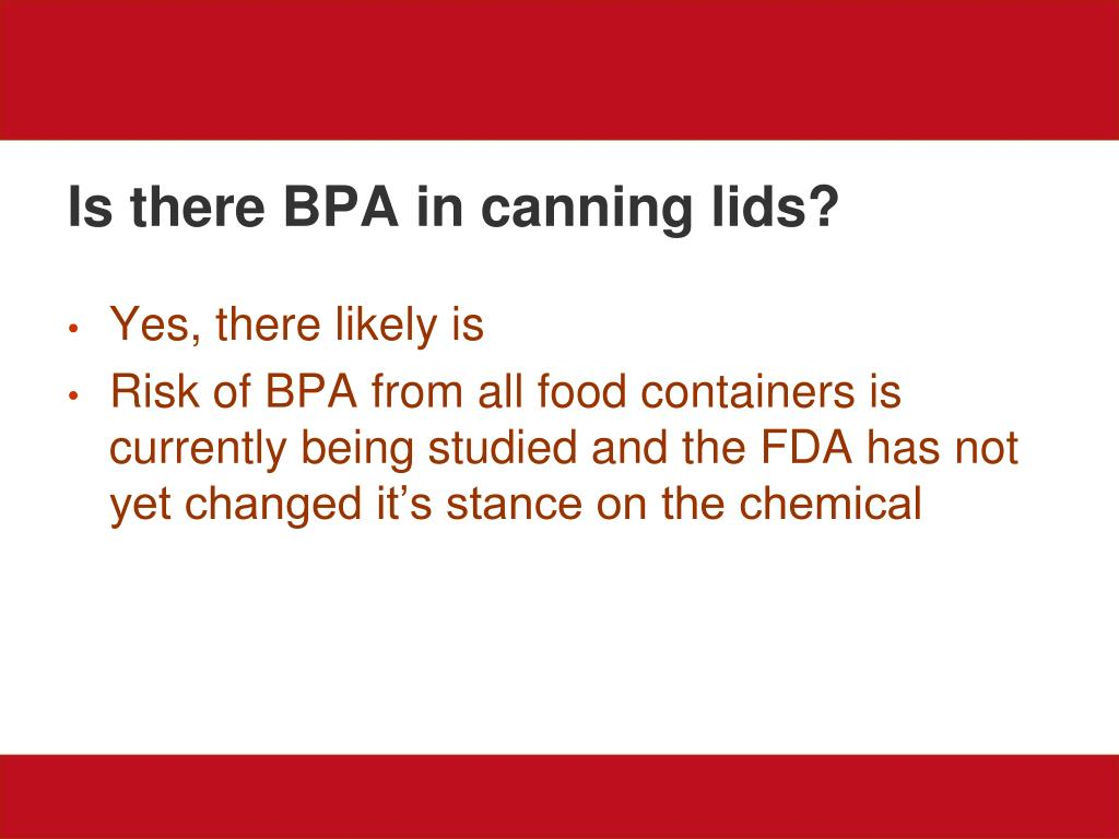 Is there BPA in canning lids?