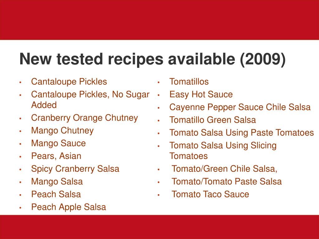 New tested recipes available (2009)