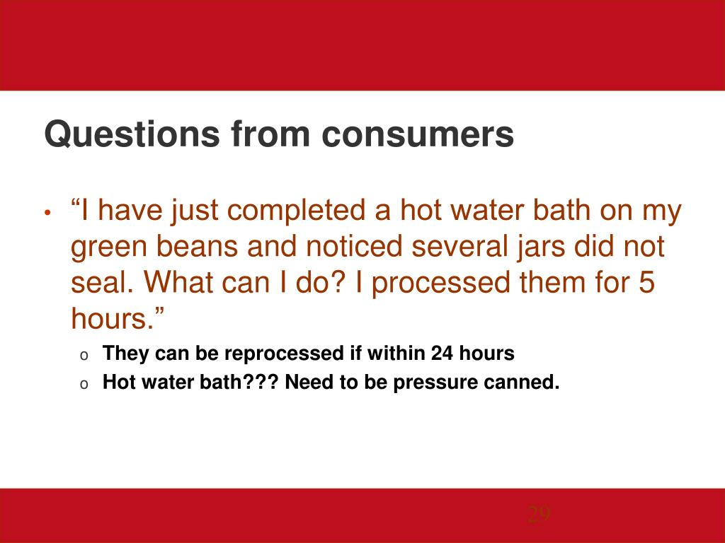 Questions from consumers