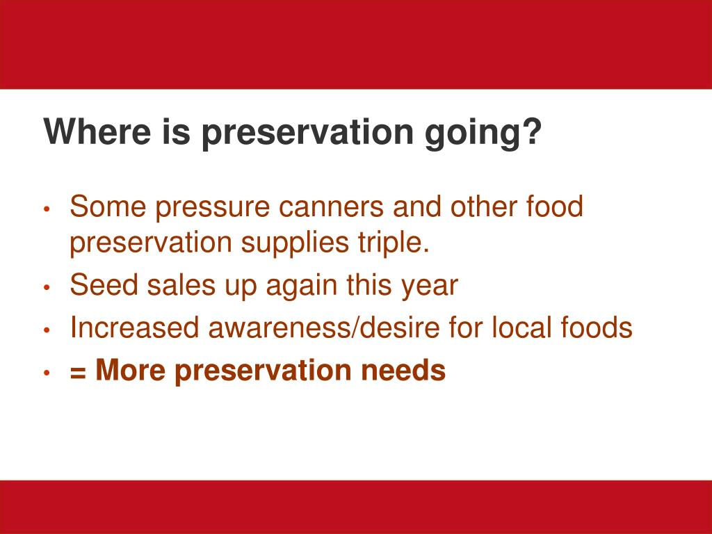 Where is preservation going?
