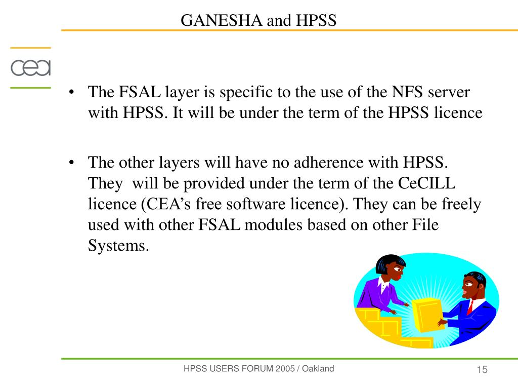 The FSAL layer is specific to the use of the NFS server with HPSS. It will be under the term of the HPSS licence