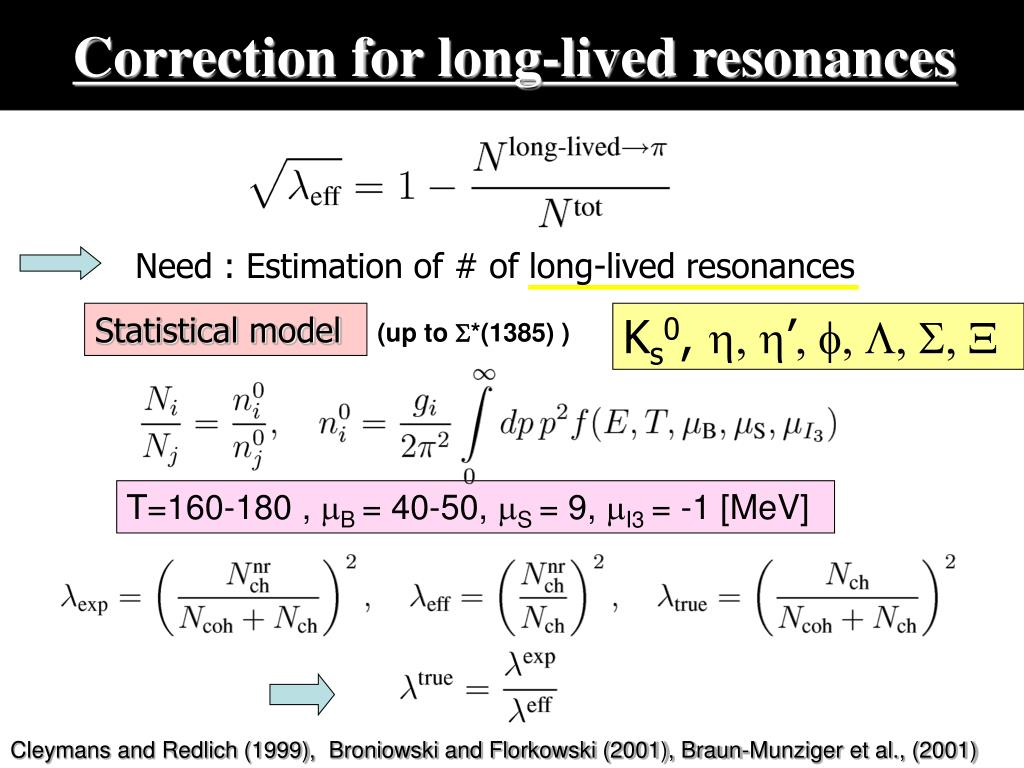 Correction for long-lived resonances