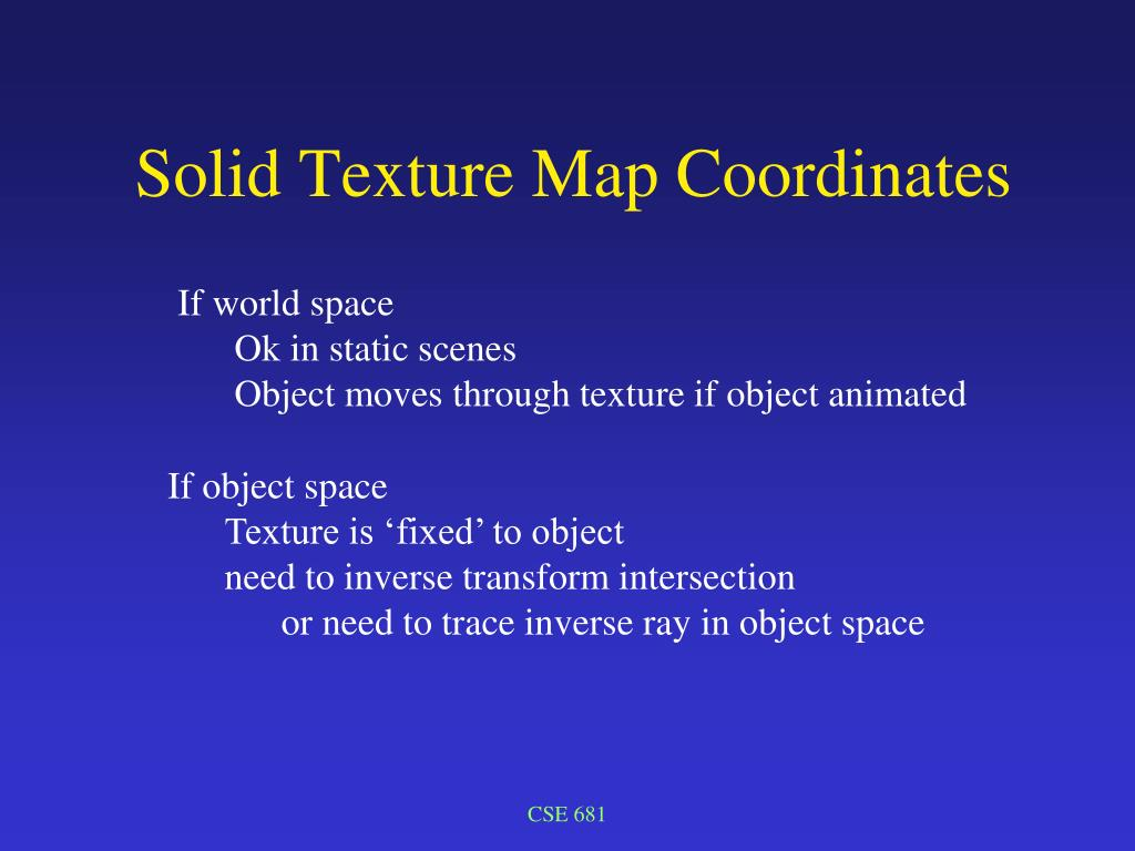 Solid Texture Map Coordinates