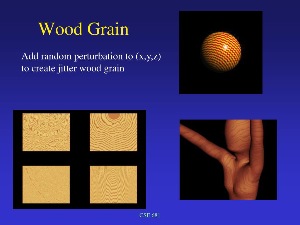 Add random perturbation to (x,y,z) to create jitter wood grain