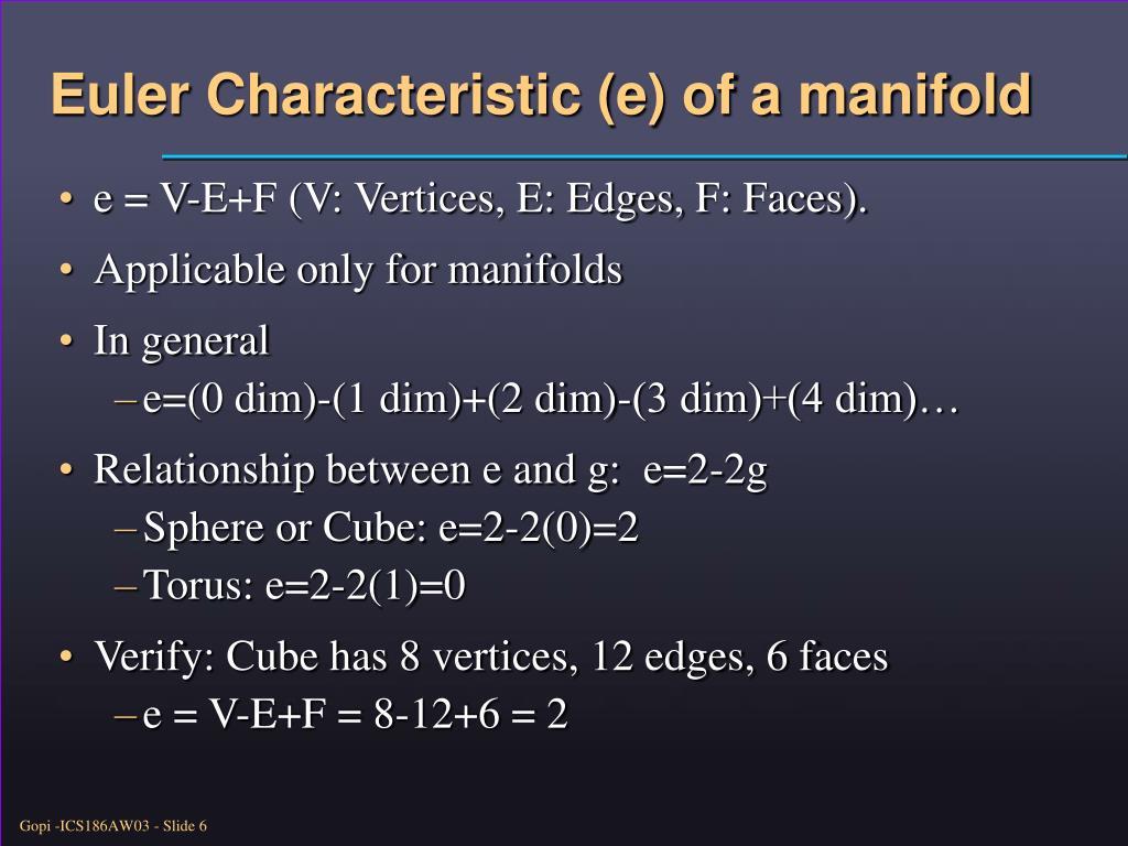 Euler Characteristic (e) of a manifold