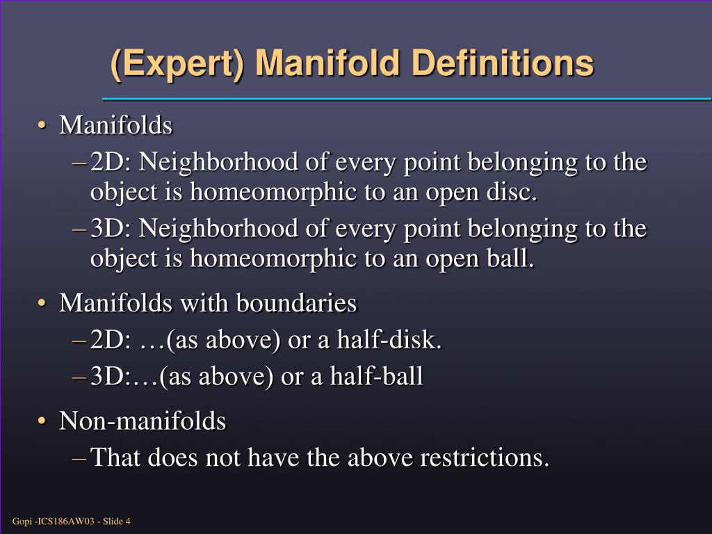(Expert) Manifold Definitions