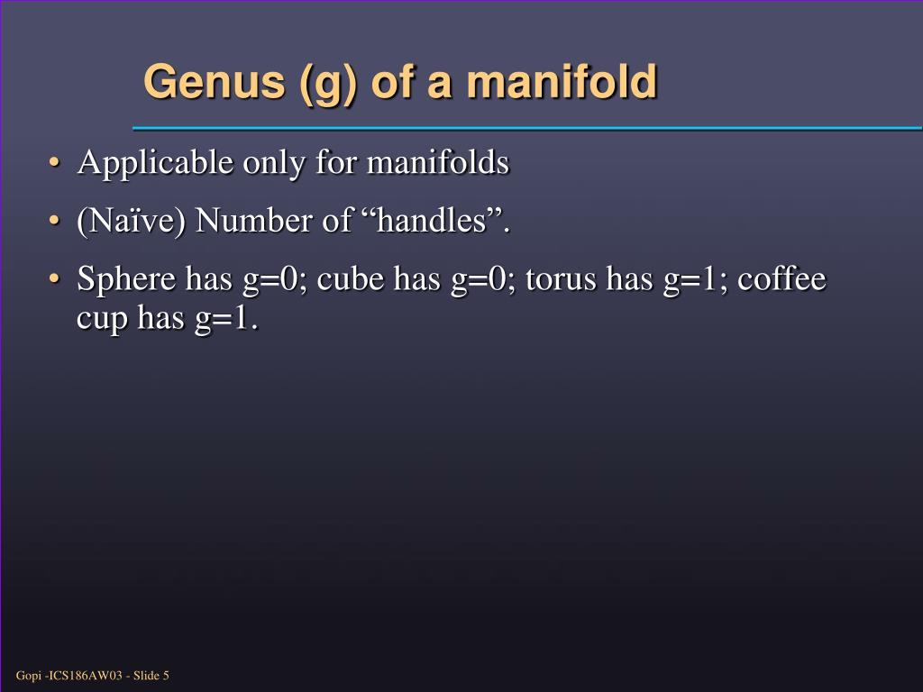 Genus (g) of a manifold