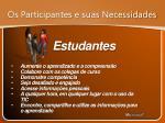 os participantes e suas necessidades