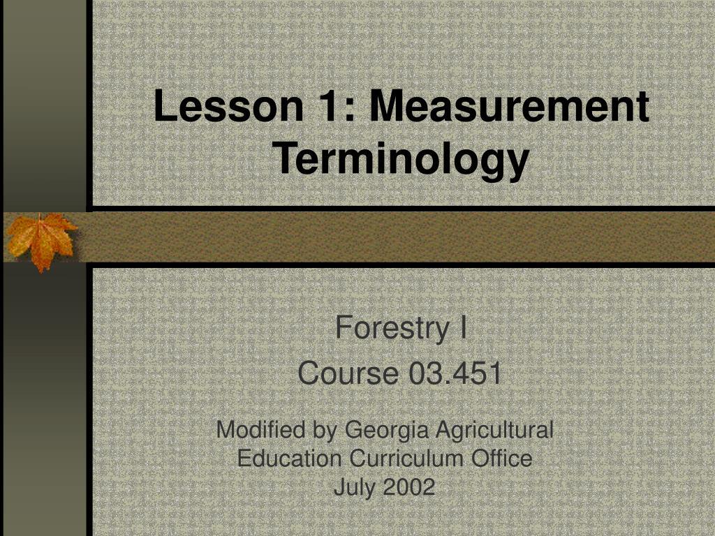 Lesson 1: Measurement Terminology