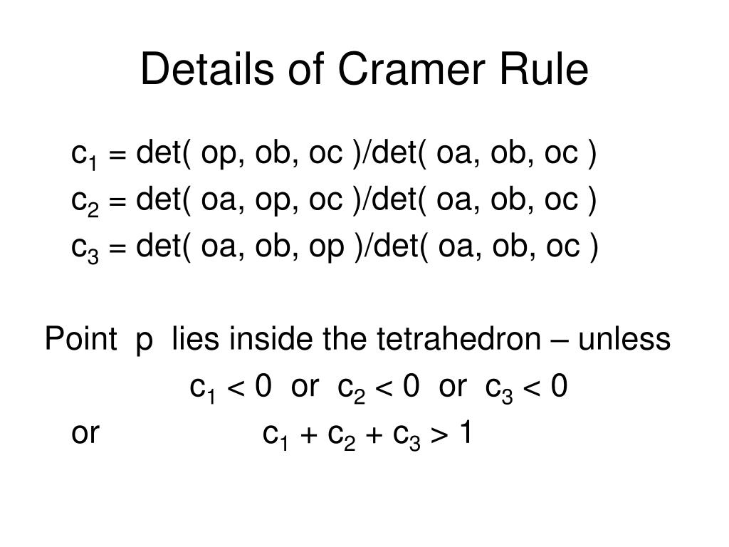 Details of Cramer Rule