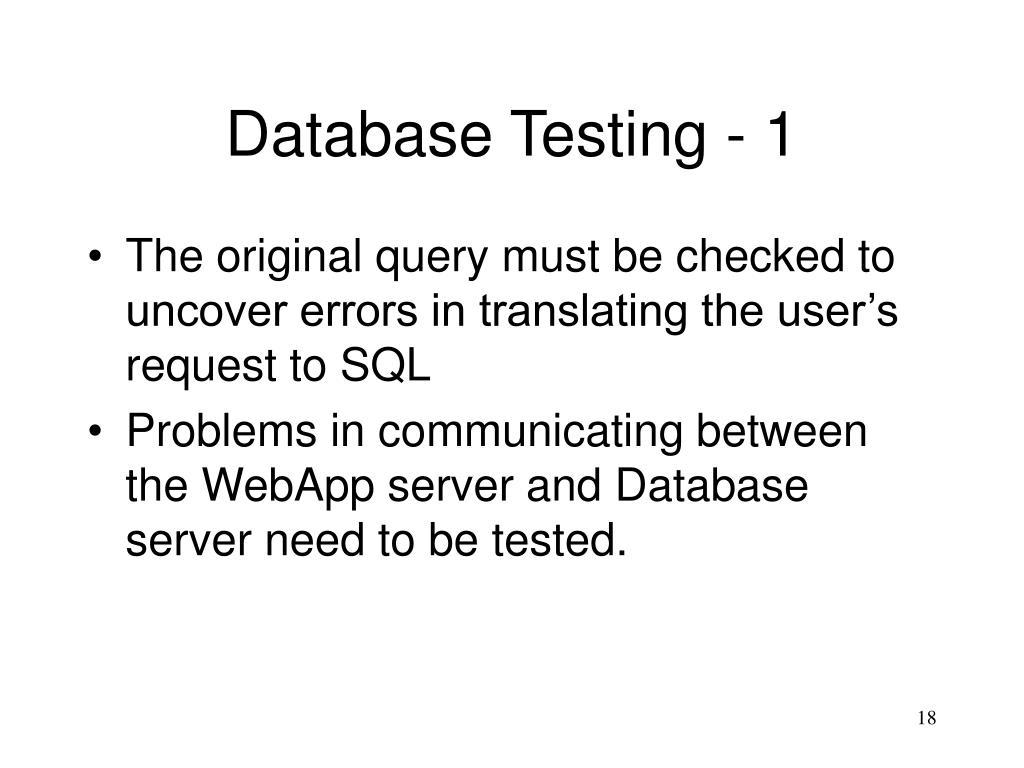 Database Testing - 1