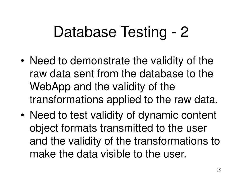 Database Testing - 2