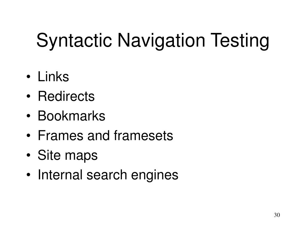 Syntactic Navigation Testing