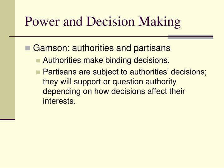 Power and Decision Making