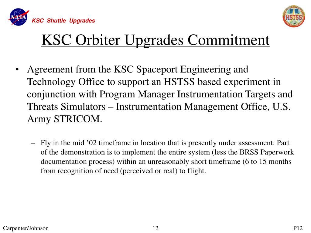 KSC Orbiter Upgrades Commitment
