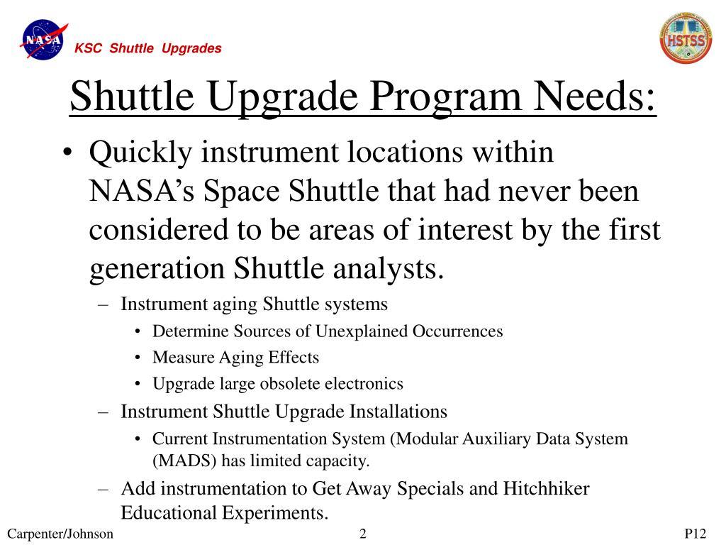 Shuttle Upgrade Program Needs:
