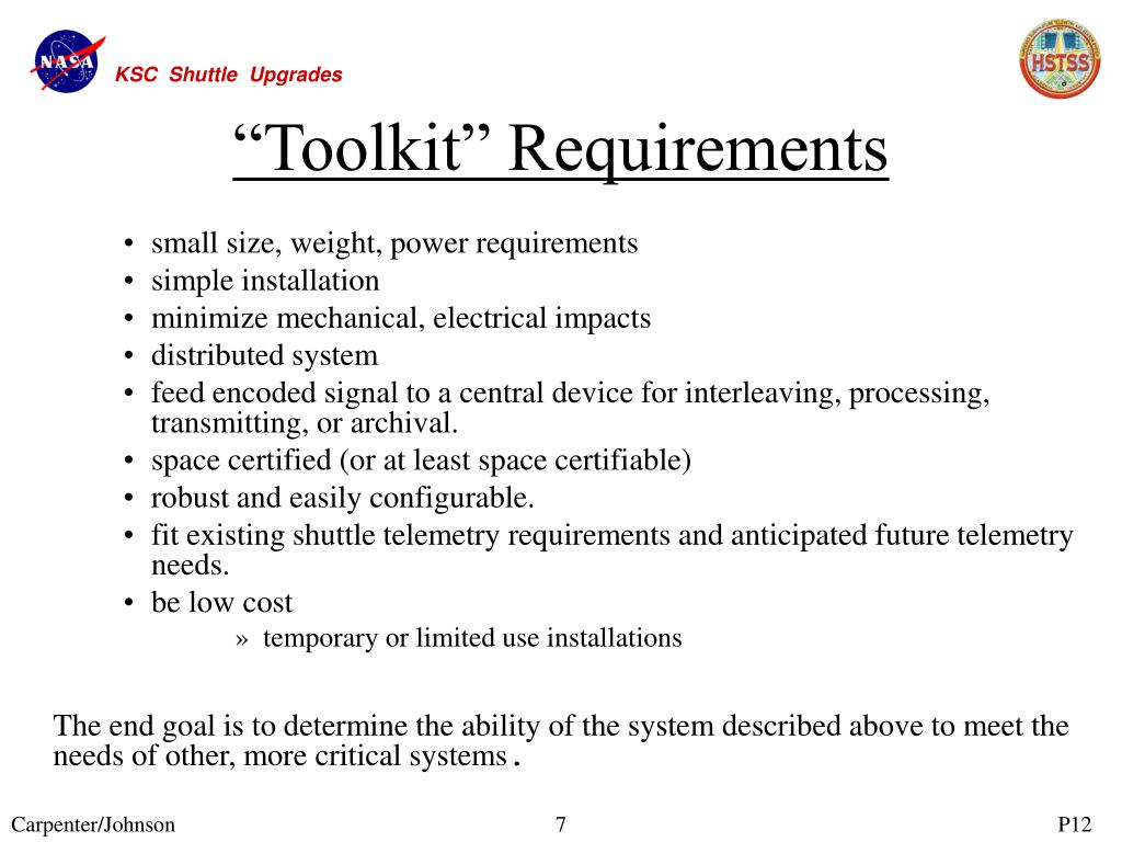 """Toolkit"" Requirements"
