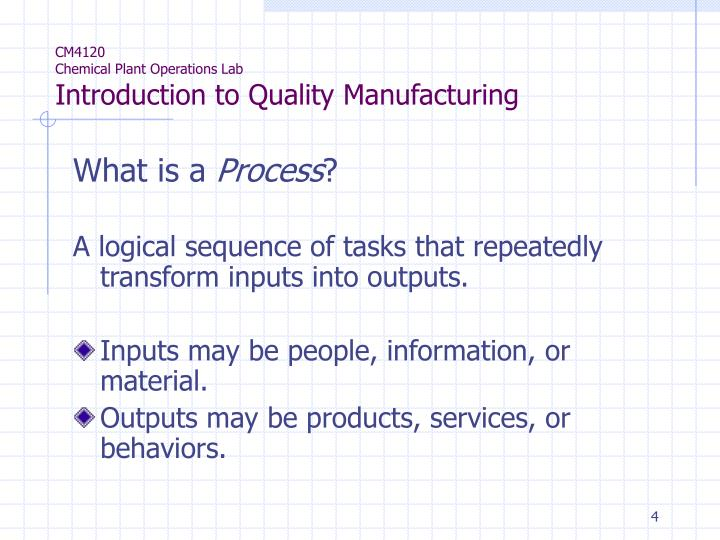 introduction to chemical process industries Introduction to chemical processes: principles, analysis, synthesis enhances student understanding of the connection between the chemistry and the process users will find strong coverage of.