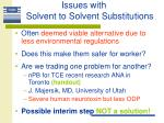 issues with solvent to solvent substitutions