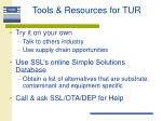 tools resources for tur