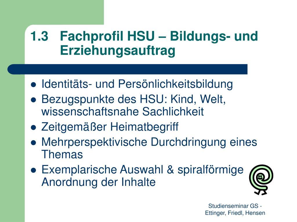 1.3Fachprofil HSU – Bildungs- und Erziehungsauftrag