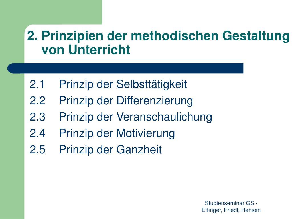 2. Prinzipien der methodischen Gestaltung