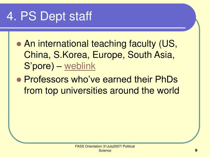 4. PS Dept staff