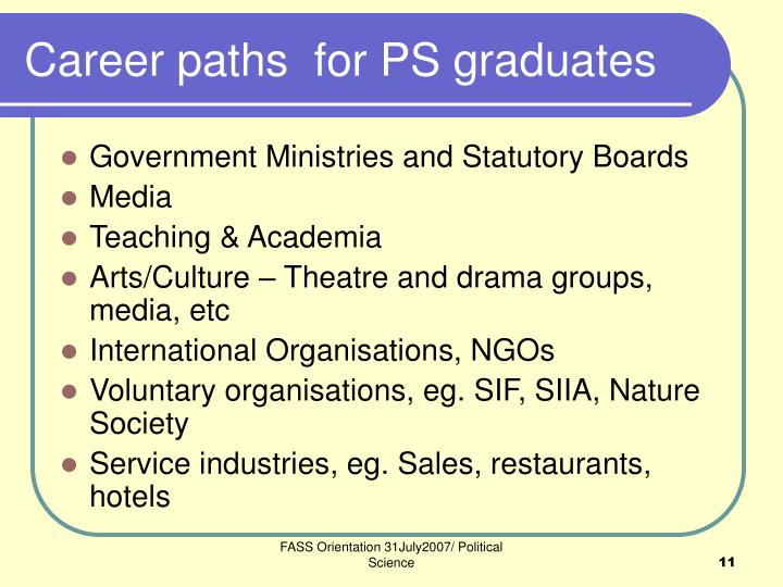 Career paths  for PS graduates