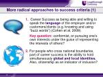 more radical approaches to success criteria 1