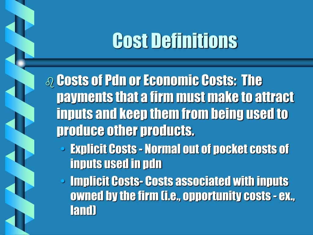 Cost Definitions