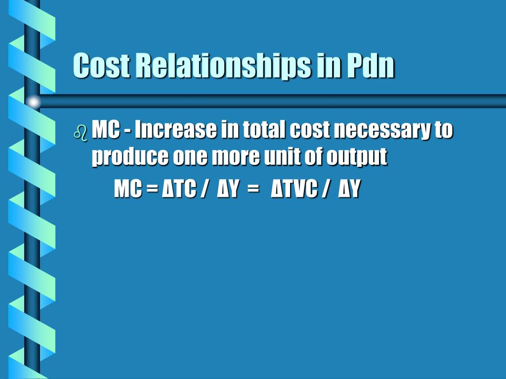 Cost Relationships in Pdn