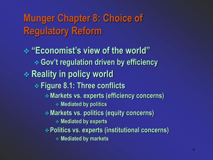 Munger Chapter 8: Choice of Regulatory Reform