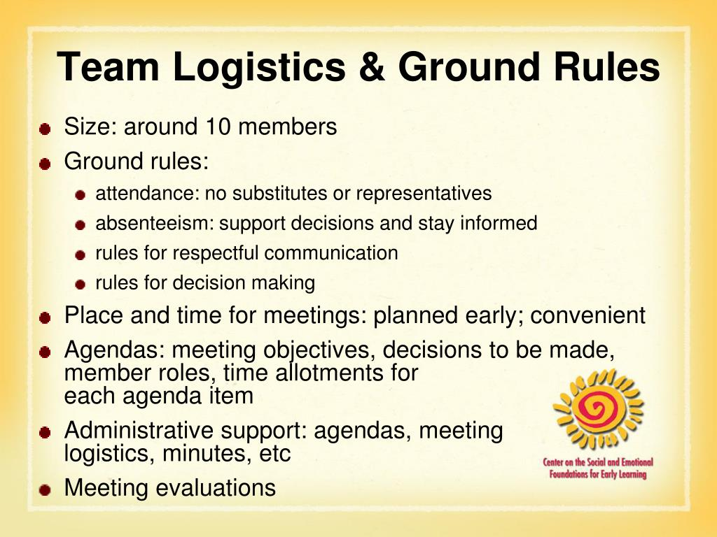 Team Logistics & Ground Rules