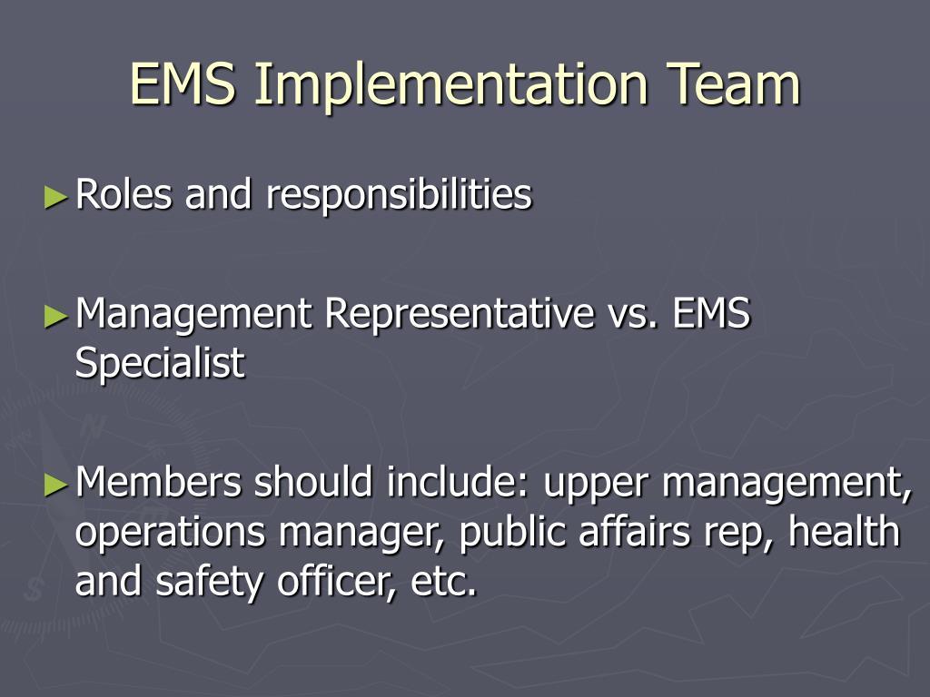 EMS Implementation Team
