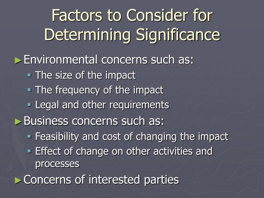 Factors to Consider for Determining Significance