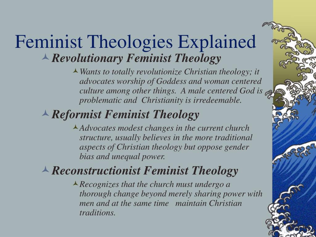 feminist theology Riffat hassan, a native of pakistan, received her doctorate in islamic philosophy  at durham, england since 1976 she has been a professor in religious studies.