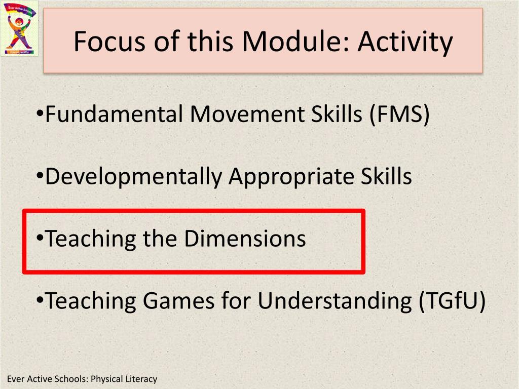Focus of this Module: Activity