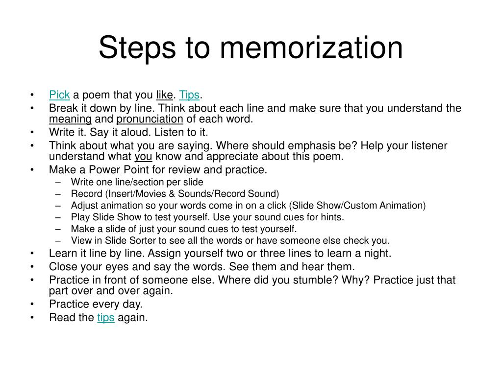 Steps to memorization
